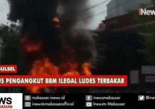 mobil pengangkut bbm ilegal ludes terbakar